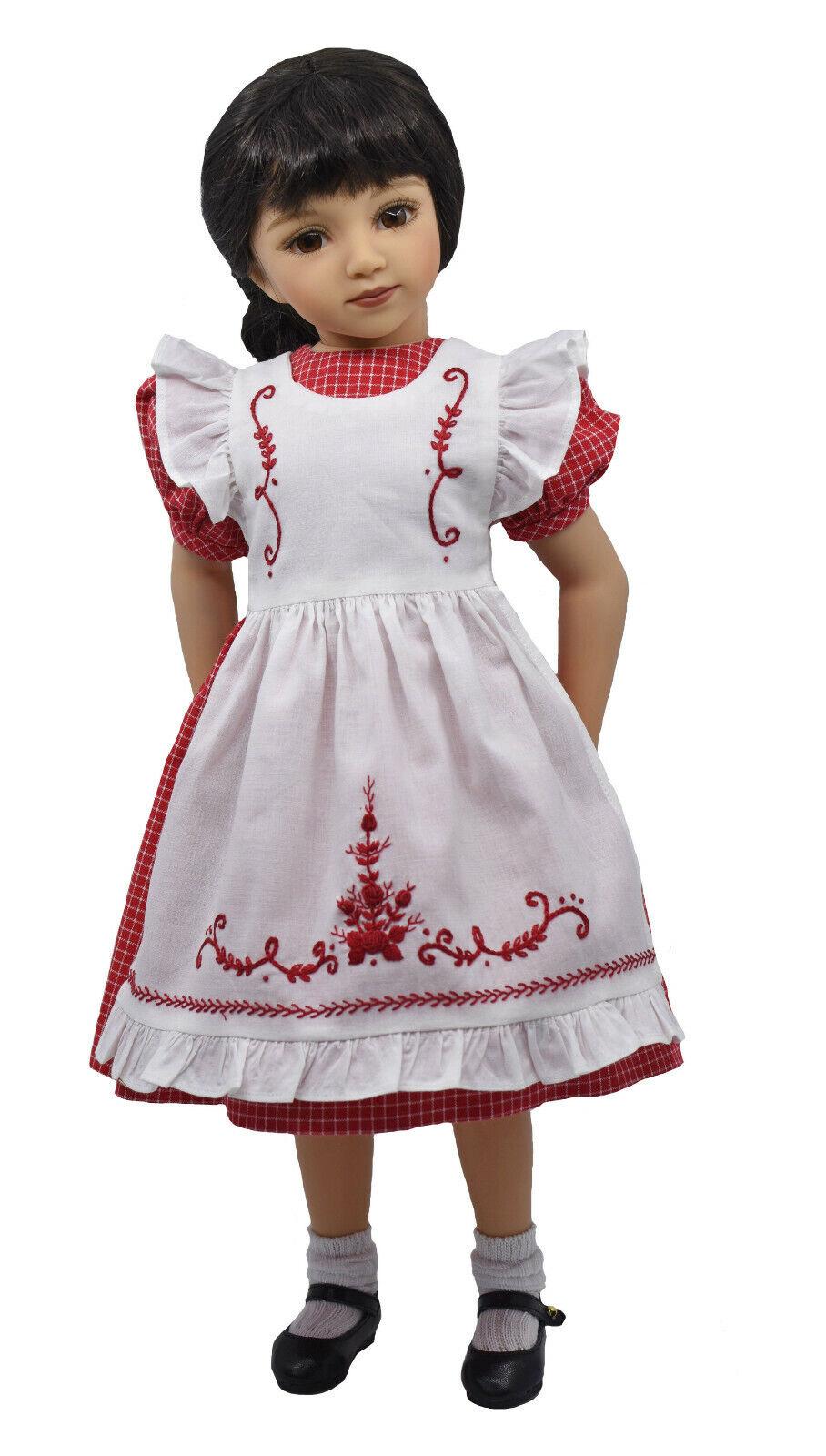 Boneka Kleid und Schürze  Dress and pinafore for 49 cm   20  Maru dolls