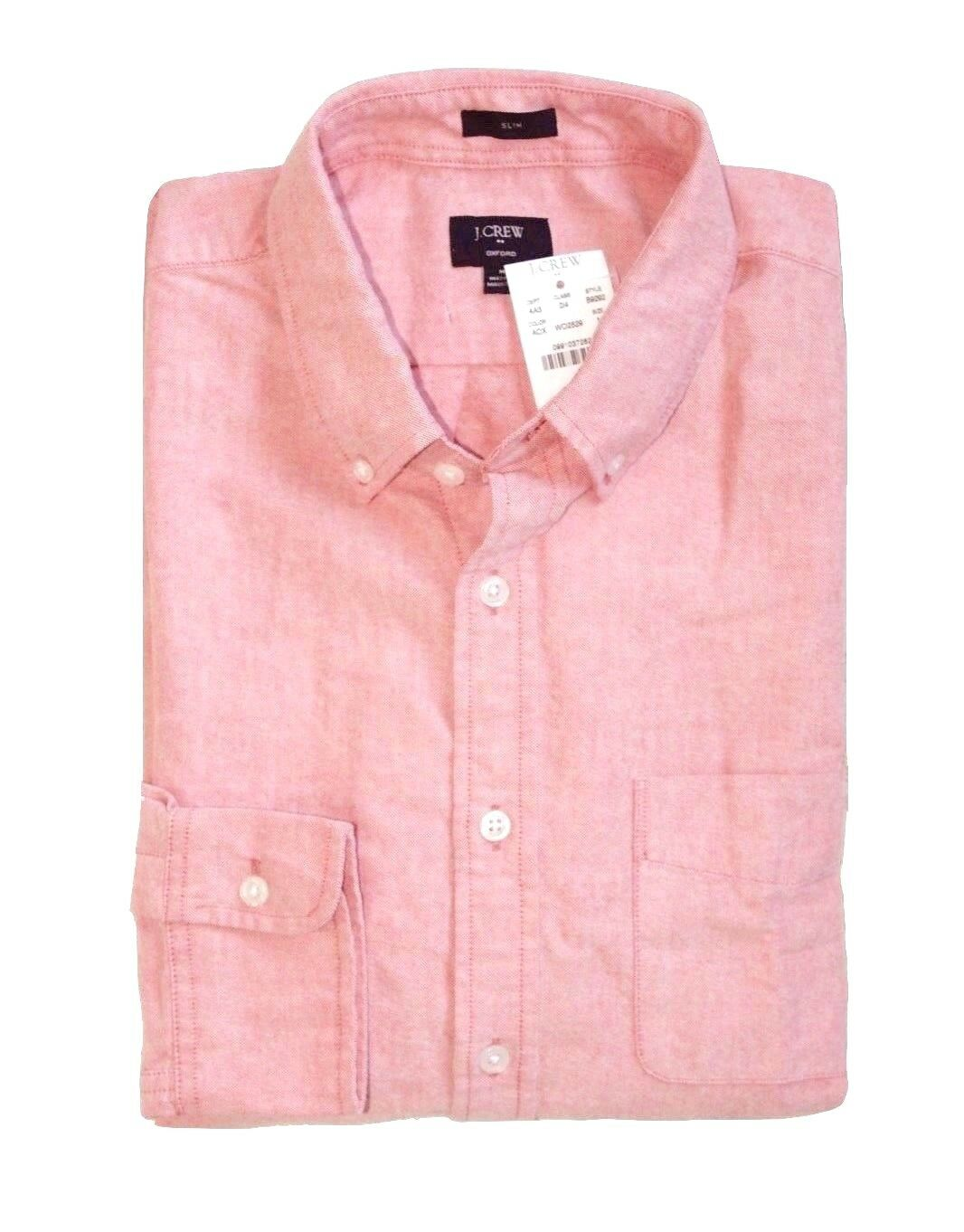 J Crew Factory - Mens XL - NWT - Slim Fit Amber Pink Old Red Cotton Oxford Shirt