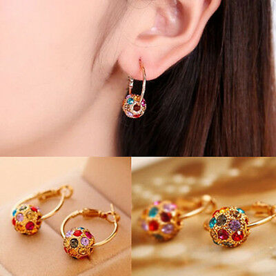 Lucky Rotate Beads 1pair Women Crystal Rhinestone Ear Stud Earrings Fashion
