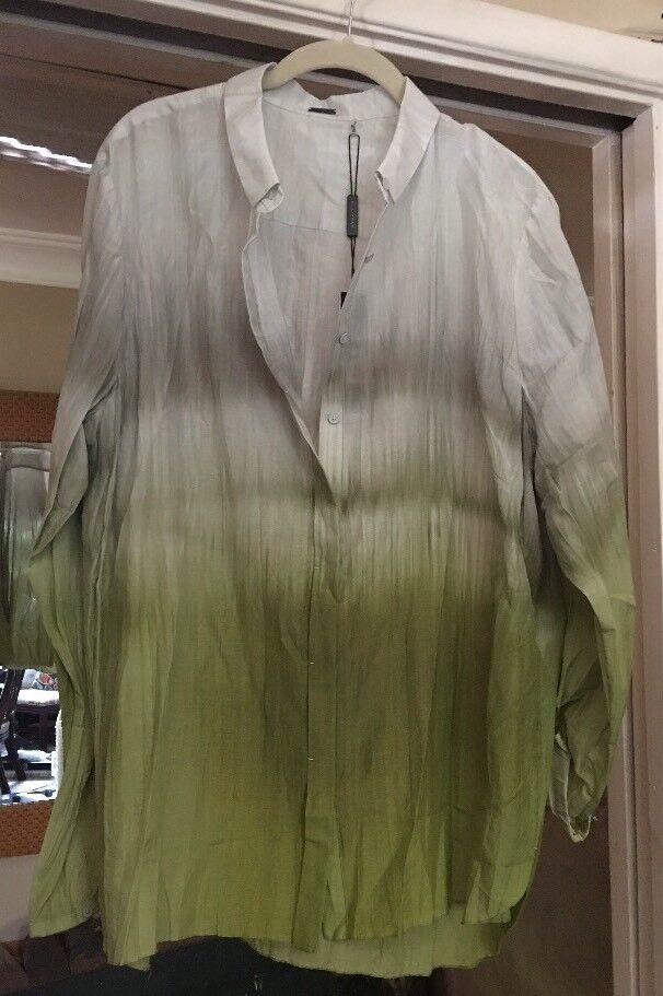 ELIE TAHARI damen's Long Sleeve Ombre Grüns Sheer Dress Shirt NWT Nice
