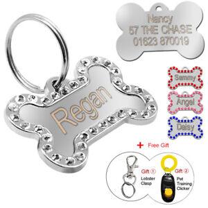 Personalizado-Grabado-etiquetas-de-perro-para-mascota-cachorro-gato-nombre-forma-de-hueso-perros