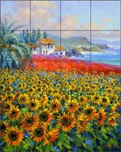 Mediterranean-Tile-Backsplash-Mikki-Senkarik-Sunflower-Art-Ceramic-Mural-MSA233