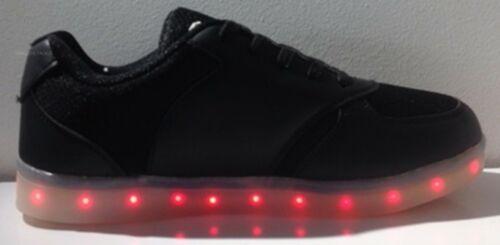 Lw002 Unisex Trainer Flashing LED Lights USB Lace Up Luminous Casual Shoes Black