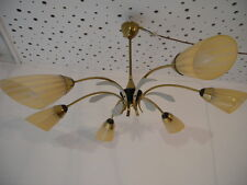 Große 50er Deckenlampe Rockebilly  60er Tütenlampe Messing  Hängelampe Sputnik