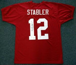 finest selection 47eef 45fee Details about KEN STABLER ALABAMA CRIMSON TIDE NCAA HAND SIGNED AUTHENTIC  STYLE MAROON JERSEY