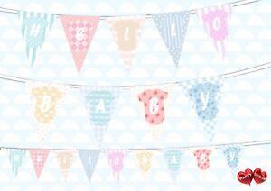 Baby-Shower-Hello-Baby-theme-texte-Bunting-Banniere-9-drapeaux-par-Parti-Decor