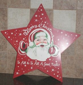 9-5-034-Merry-Christmas-To-All-METAL-SANTA-5-Point-BARN-STAR-Holiday-Country-Decor