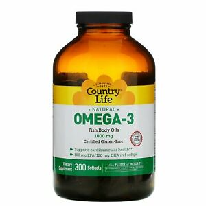 Country Life Omega-3 1000 mg 300 Softgels Gluten-Free ...