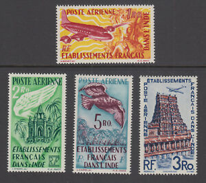 French-India-Sc-C14-C16-MNH-1949-Air-Mail-cplt-incl-unissued-3ro-value-VF