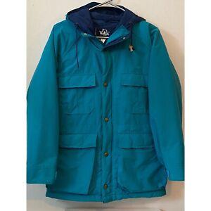 Vintage Woolrich Womens 80s Zip Snap Ski Jacket Coat Teal Navy Size Small