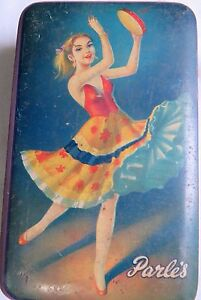 Vintage-TIN-sign-ADVERTISE-BOX-PARLE-039-S-DANCING-GIRL-TOFFEES-1970-LITHO