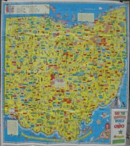 Official Large Format 1965 Ohio Pictorial Road Map Colorful Artwork
