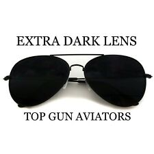 Super Dark Smoke Lens Top Gun Unisex Gunmetal Frame Aviator Sunglasses Aviators