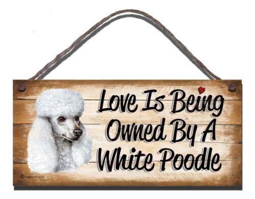 WOODEN SIGN DOG WHITE POODLE  PET LOVER  GIFT PRESENT