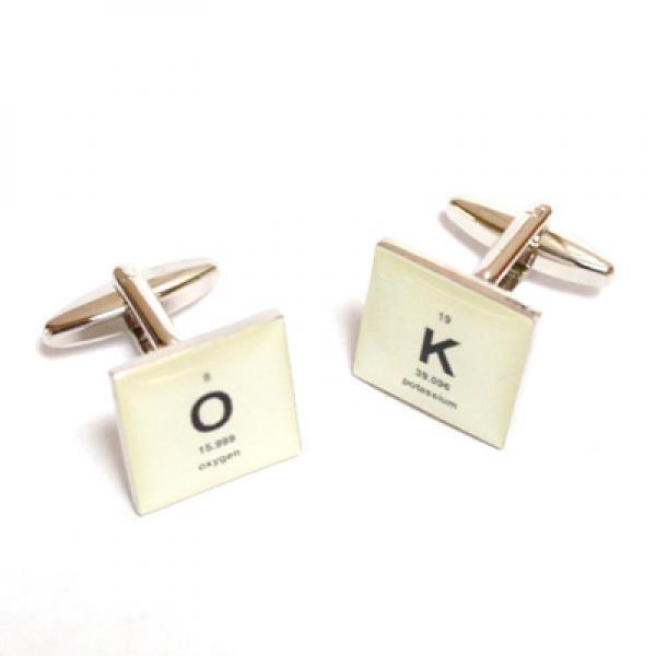 Retro Periodic Table OK Design Cufflinks & Gift Pouch