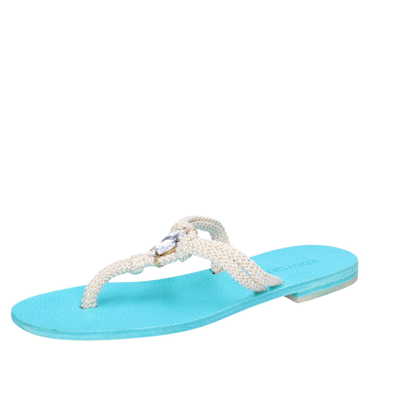 Chaussures Femmes Eddy Daniele 37 UE Sandales Blanc Corde Swarovski aw509