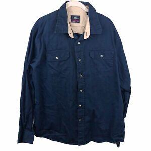 Wrangler-Men-039-s-XL-100-Cotton-Blue-Long-Sleeve-Button-Down-Collared-Shirt