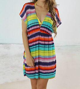 Rainbow-Ladies-Women-Beach-Kaftan-Bikini-Dress-Summer-Swimwear-Holiday-Swim-Wear