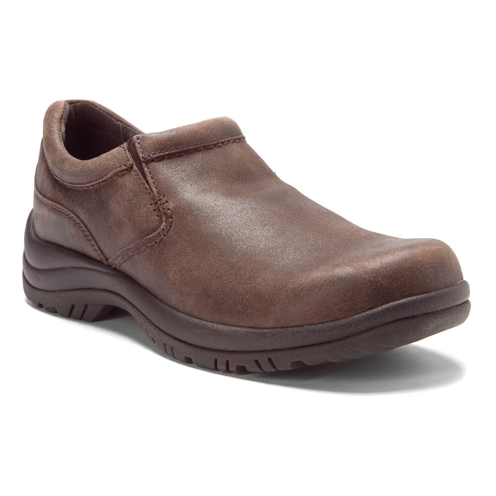 Men's Dansko Wynn Slip Resistant Slip On Brown Distressed Leather