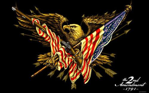 2nd Amendment Eagle GUN  MOTORCYCLE FLAG 3/' X 5/' BIKER FLAG