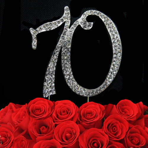 New Silver Diamond Strass Anniversaire Anniversaire Gâteau Pick Topper 7 cm /& 12 cm