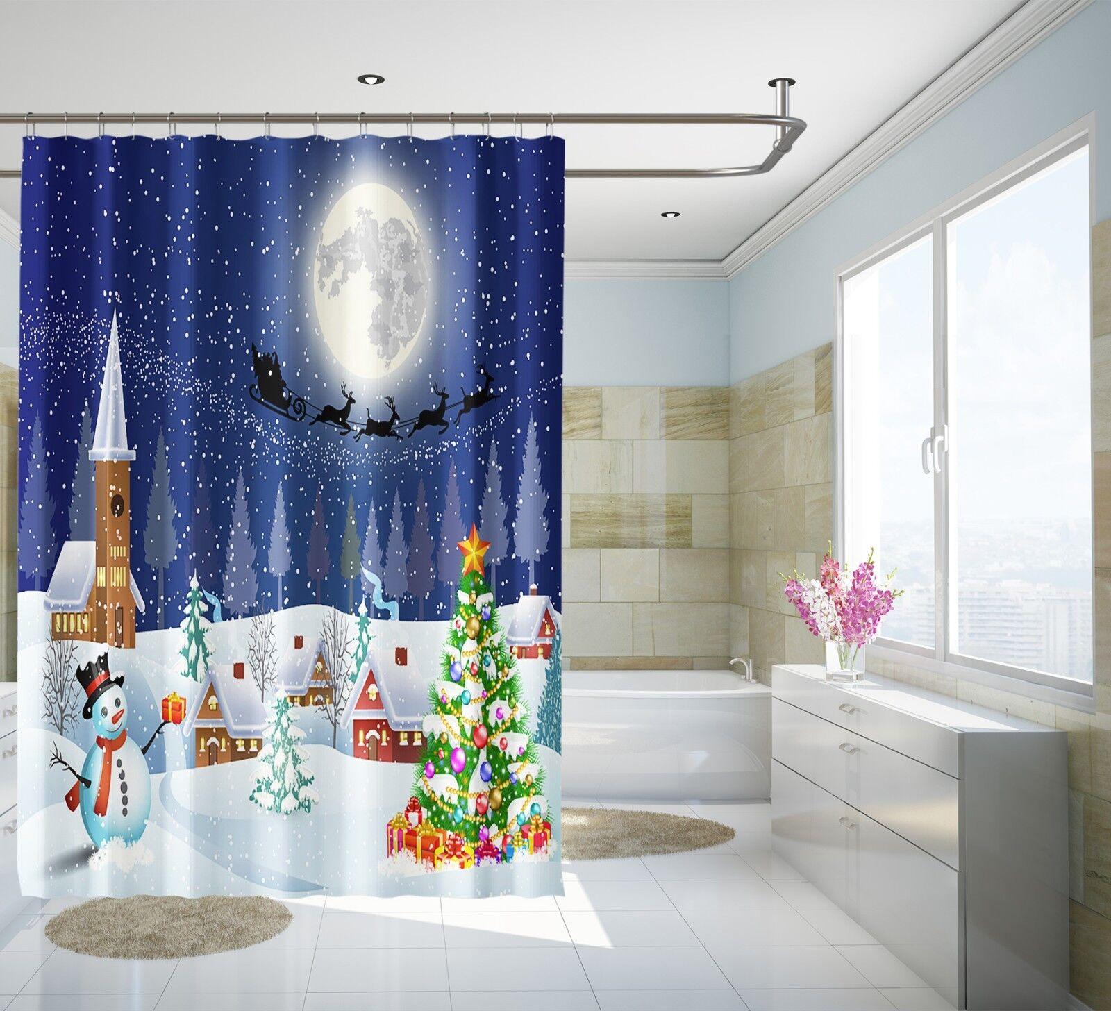 3d navidad 325 cortina de ducha impermeable fibra baño en casa Windows inodoro de