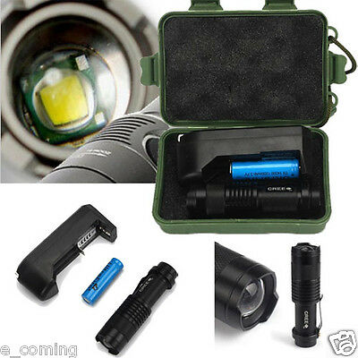 2000LM CREE Q5 LED Flashlight Torch w/14500 Battery + Charger+ Box Taschenlampe