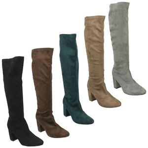 LADIES-ANNE-MICHELLE-LONG-KNEE-HIGH-MICROFIBRE-SMART-HEEL-WINTER-BOOTS-F50680