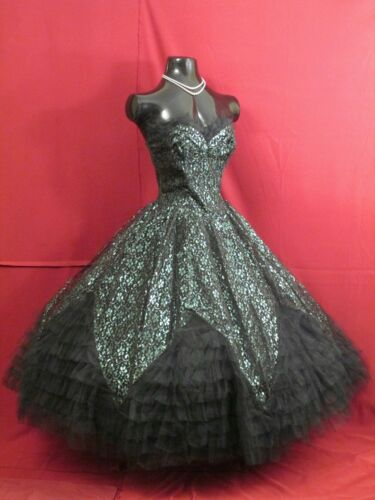 Vintage 50's 50s Strapless Gothic Black Green Lace