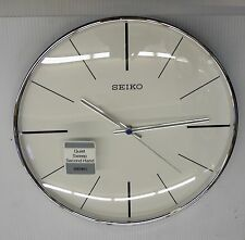 """SEIKO SILVER TONE 11.5"""" ROUND  WALL CLOCK WITH QUIET SWEEP QXA634ALH"""