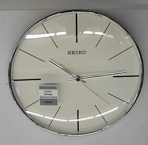 Seiko Silver Tone 11 5 Quot Round Wall Clock With Quiet Sweep