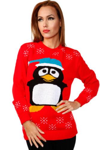 Da Donna Rosso Manica Lunga Pinguino Design Natale Inverno Maglione Natalizio