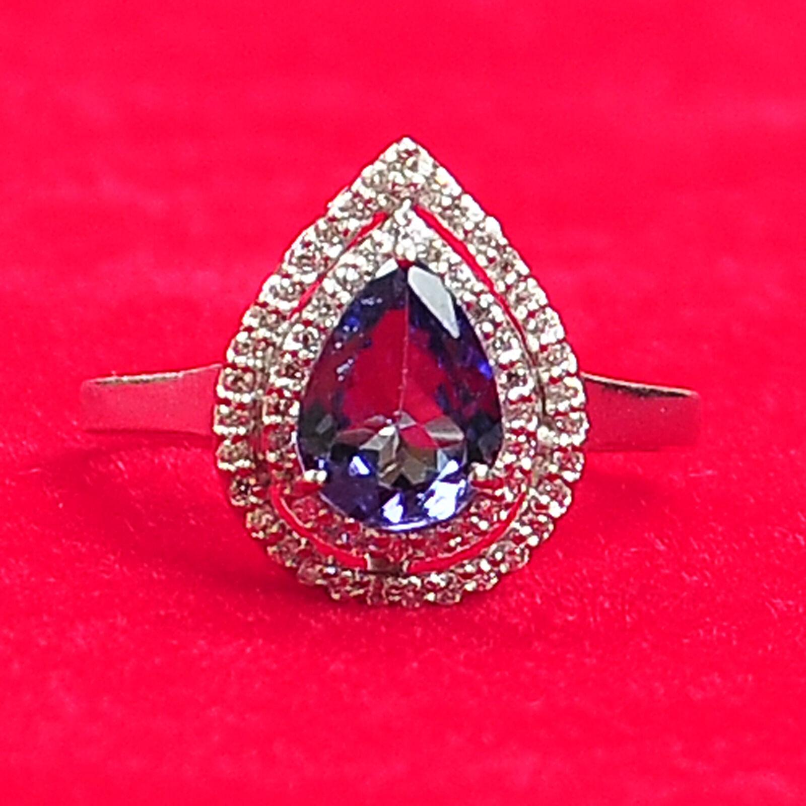 14KT White gold 1.65 Carat Natural blueee Tanzanite IGI Certified Diamond Ring