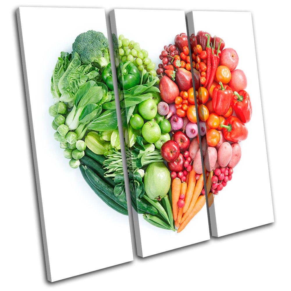 Fruit & veg heart food kitchen treble toile wall art photo print