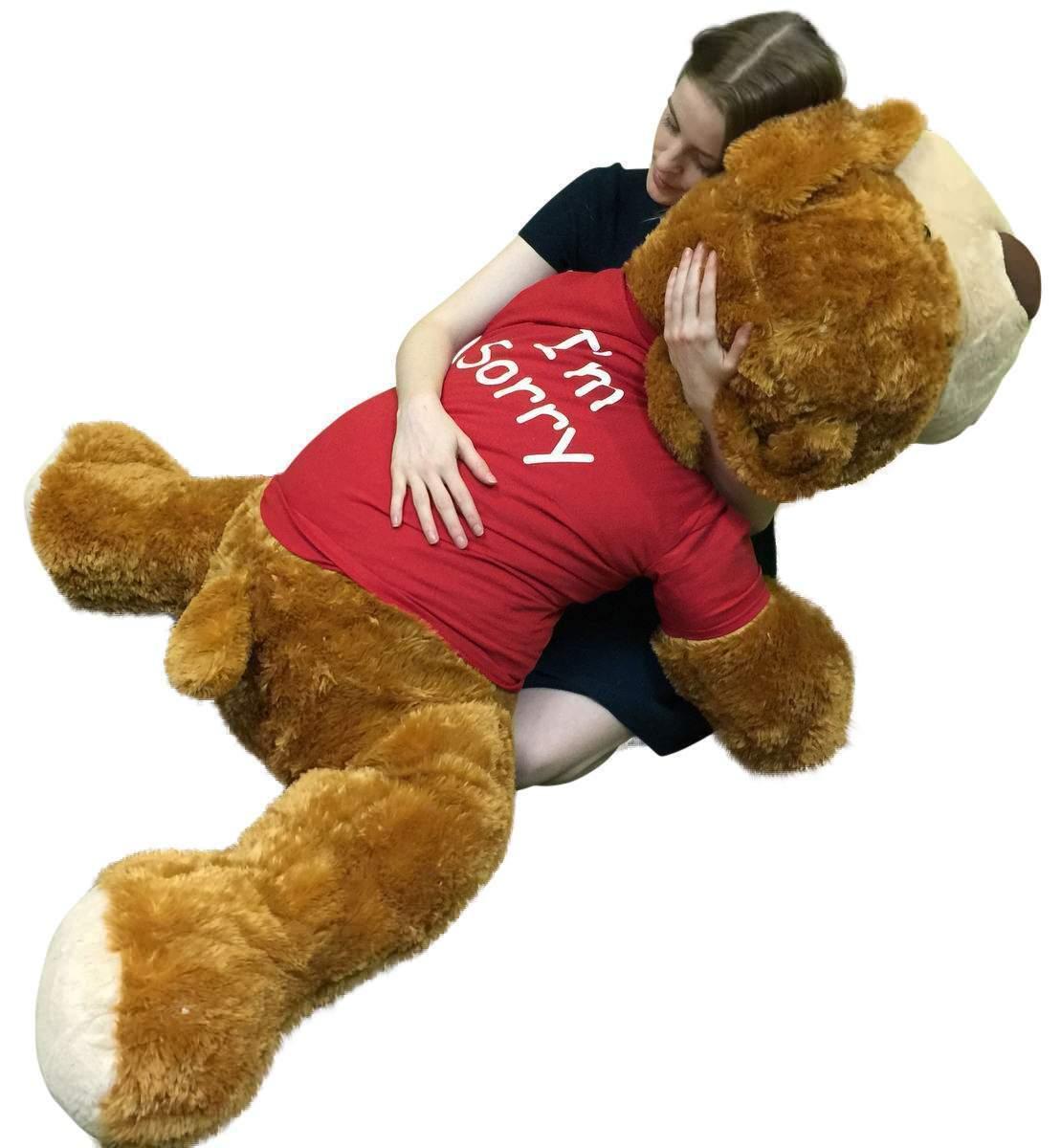 I'm Sorry Giant Stuffed Puppy Dog 5 Feet Long Long Feet Braun Soft Wears I'M SORRY T-shirt 1db326
