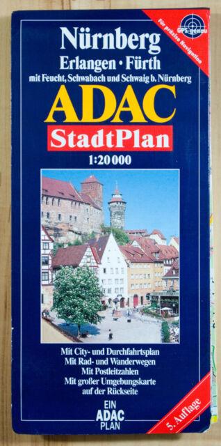 ADAC Karte Landkarte Stadtplan Nürnberg, Erlangen, Fürth - 1:20.000
