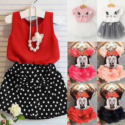 2PCS Kids Toddler Girl Summer Dress Outfits T-shirt Tops+Tutu Skirt Clothes Nice
