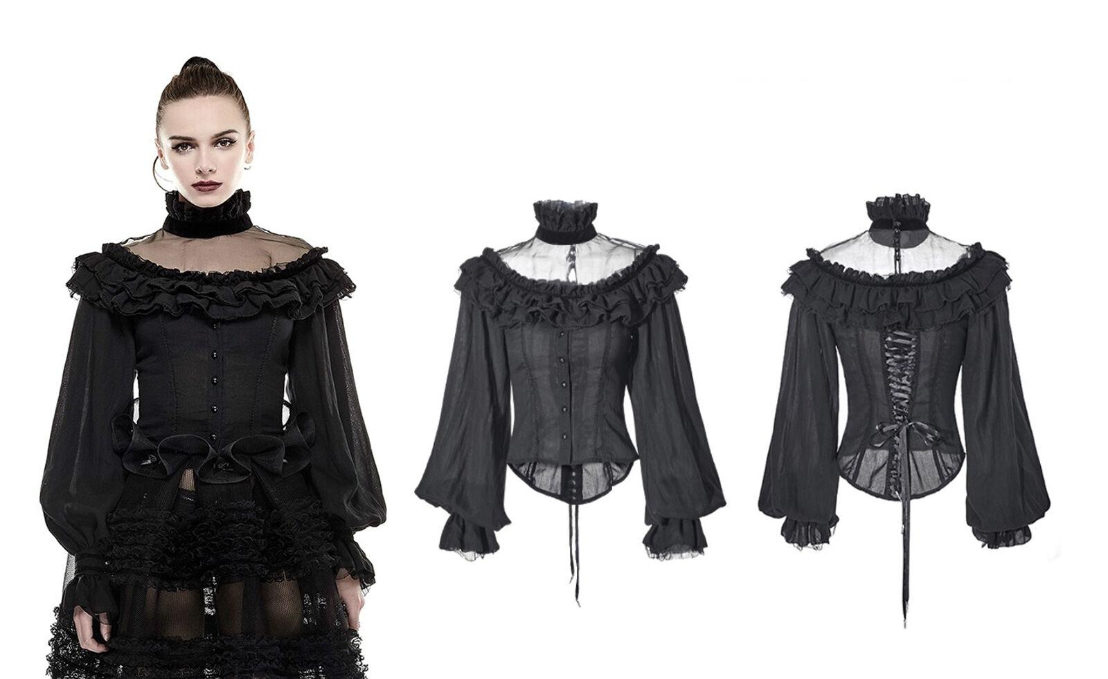Punk Rave Gothic Lolita Spitze Blause Shirt Victorian Schnürung Puffs Seide LY054