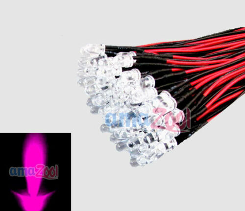 1000pcs x Pink 5mm led Pre Wired light 12V 20cm Bulbs Light Lamp Water clear