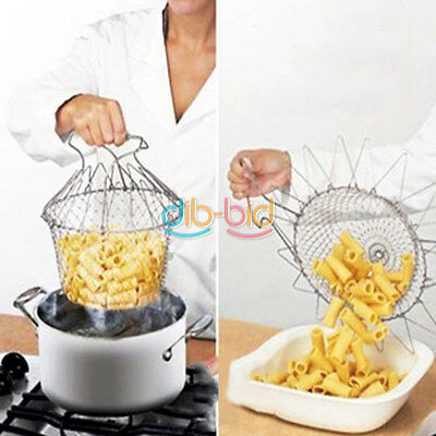 Foldable Kitchen Steam Rinse Strain Strainer Net Fry Chef Basket Cooking Tool ED