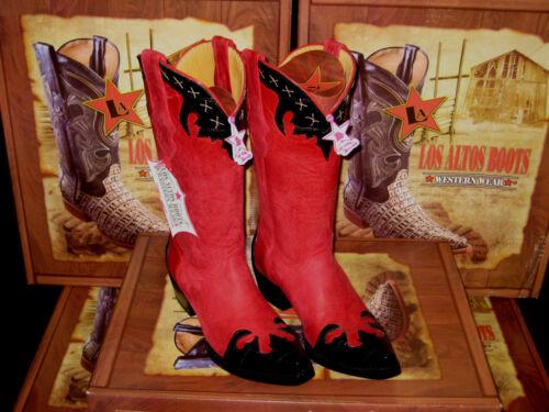 LOS ALTOS WOMEN RED//BLACK LEATHER SNIP TOE EEL WESTERN COWBOY BOOT 34P0705