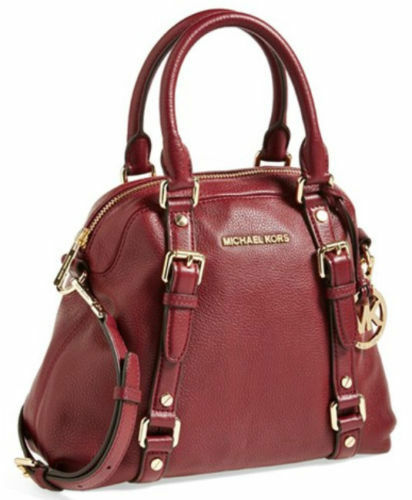 7003158e63f0 Michael Kors Bedford Bowling Convertible Satchel Claret Leather NX2NU   398.00