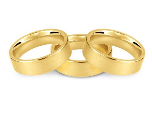18ct YELLOW GOLD 2 3 4 5 6 8mm FLAT COURT EASYFIT MEDIUM HEAVY WEDDING RING BAND