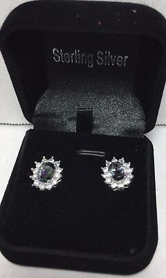 Brand New QVC Sterling Silver Pink Sapphire Gemstone earrings gift boxed