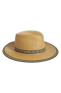 * NWT Eric Javits 'Georgia' Woven Hat - Brown Tan 13802 One Size UPF50+