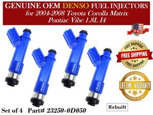 Set//4 Reman OEM DENSO Fuel Injectors for 1990-1992 Toyota Celica and MR2 2.2L I4