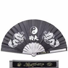 Tai Chi Black Metal Steel Kung Fu / Wushu Martial Arts Fighting Fan Dragon NEW
