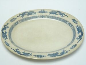 ANTIQUE-c1906-BOOTHS-SILICON-CHINA-CHINESE-DRAGON-MOTIF-LARGE-OVAL-PLATTER-10-5-034