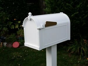 Whitehall Mailbox Cast Aluminum Post Mount Mail Box Includes Locking Insert Ebay