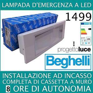 Lampade Emergenza Led Beghelli.Beghelli 1499 Lampada Emergenza Led Beghelli Ad Incasso 8 Ore